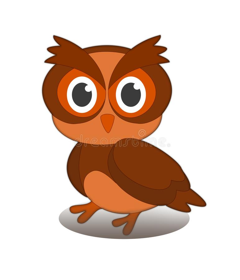 L'immagine animale del disegno dell'illustrazione del mammifero del gufo dell'uccello traversa fotografia stock libera da diritti
