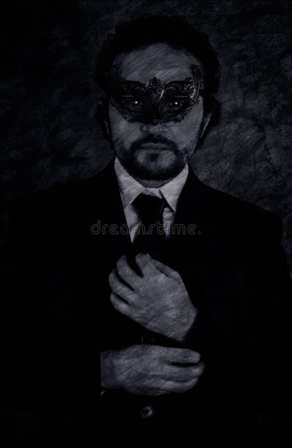 L'immagine artistica del vampiro ha mascherato l'uomo di mistero ed il nero elegante s immagini stock libere da diritti