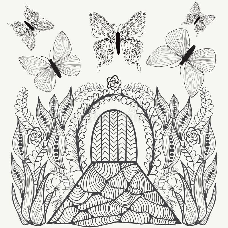 L'immagine astratta di fantasia fiorisce, farfalle e porta illustrazione di stock