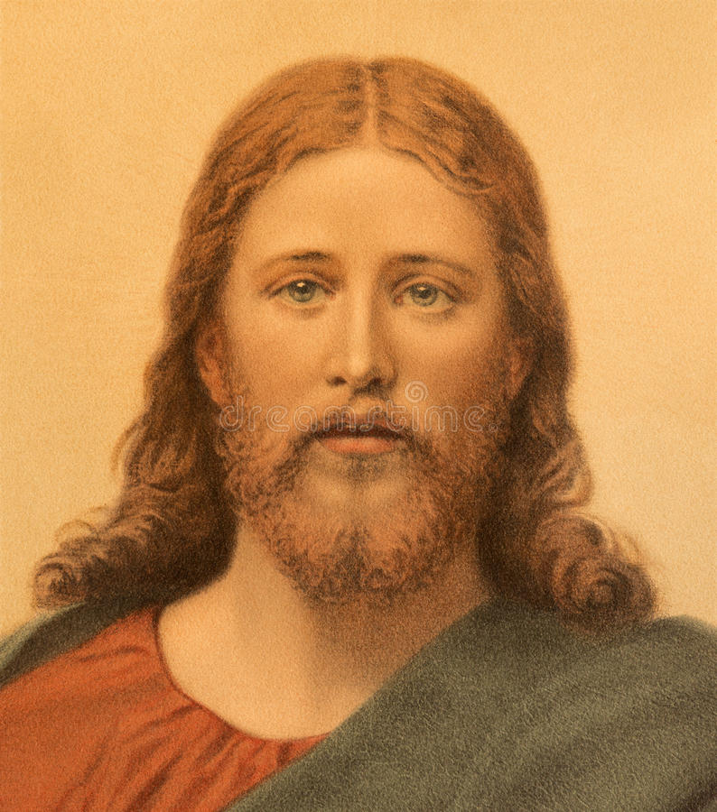 L'immagine cattolica tipica di Jesus Christ ha stampato a Berlino da una conclusione di 19 centesimo Progettato da A Ebert immagini stock