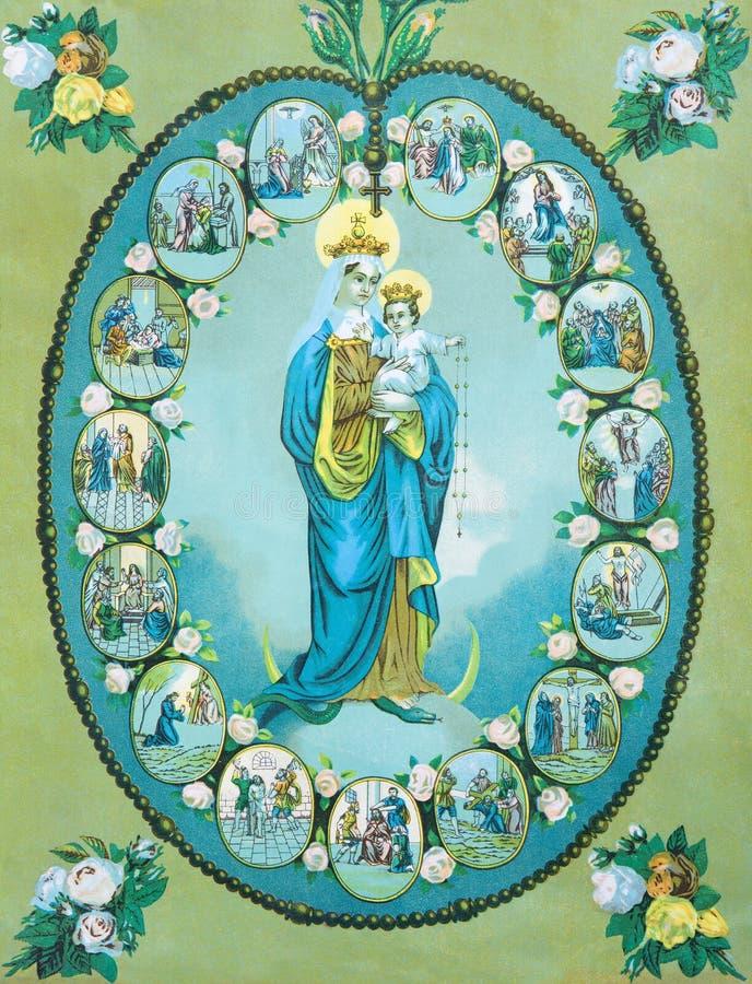 L'immagine cattolica tipica di vergine Maria del rosario dalla Slovacchia ha stampato in Germania fotografia stock libera da diritti