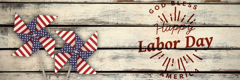 L'immagine composita dell'immagine composita digitale della festa del lavoro felice ed il dio benedicono il testo dell'america illustrazione vettoriale