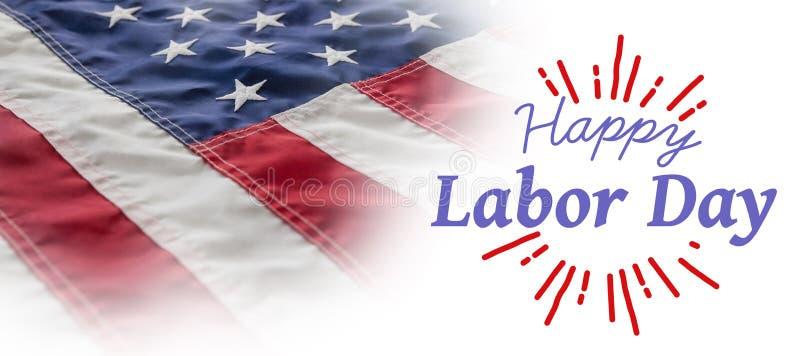 L'immagine composita dell'immagine composita digitale della festa del lavoro felice ed il dio benedicono il testo dell'america illustrazione di stock