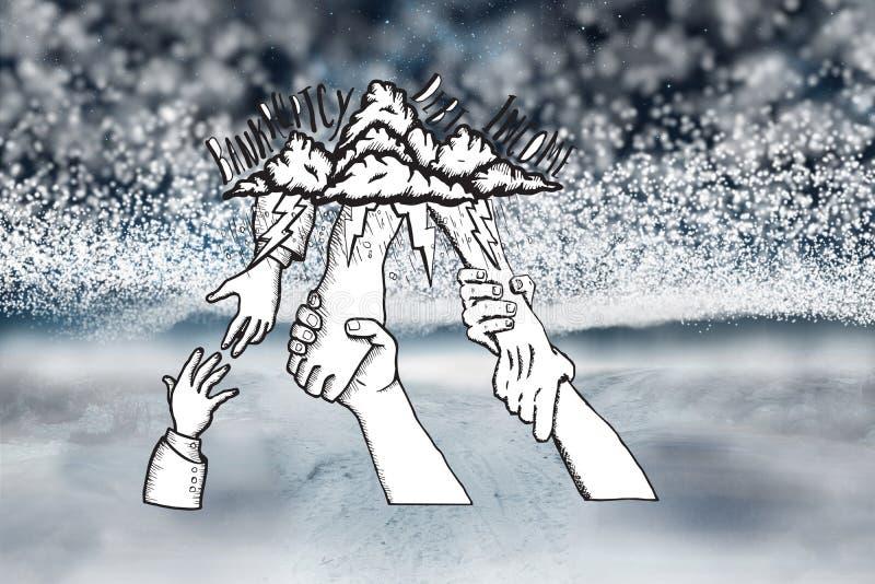 L'immagine composita di fallimento ed il debito scarabocchiano con le mani amiche illustrazione di stock