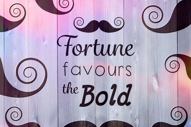 L'immagine composita di fortuna favorisce le parole audaci illustrazione di stock