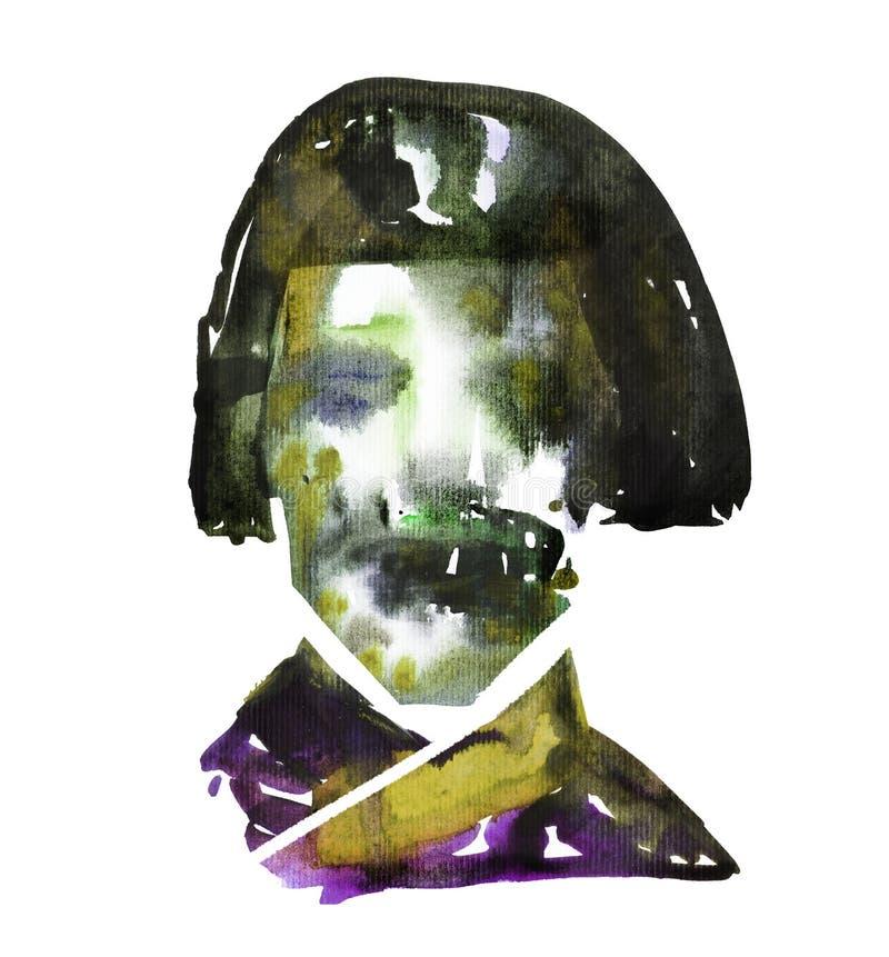 L'immagine dell'acquerello del fronte dello zombie della geisha con su Halloween o helloween il partito manifesto illustrazione di stock