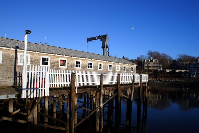 L'immagine di riserva del granaio dei fishermens rossi è stato conosciuta come il motivo 1 in Rockport, Nuova Inghilterra, U.S.A. immagine stock