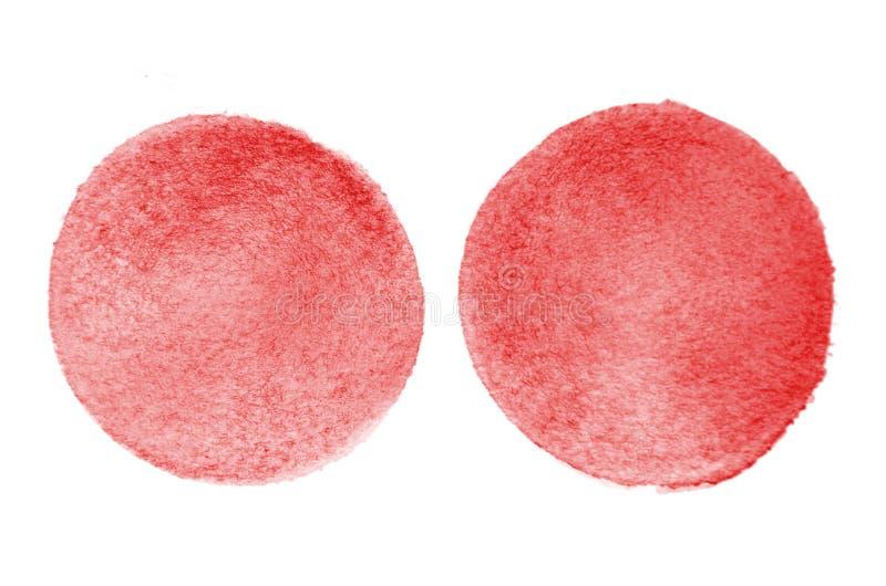 L'immagine di sfondo dell'acquerello astratto macchia la formazione della forma rotonda di colore rosso immagini stock libere da diritti