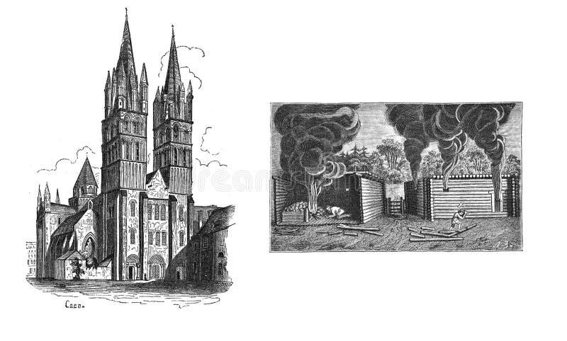 L'immagine di una chiesa e di costruzione della casa nei medio evo illustrazione vettoriale