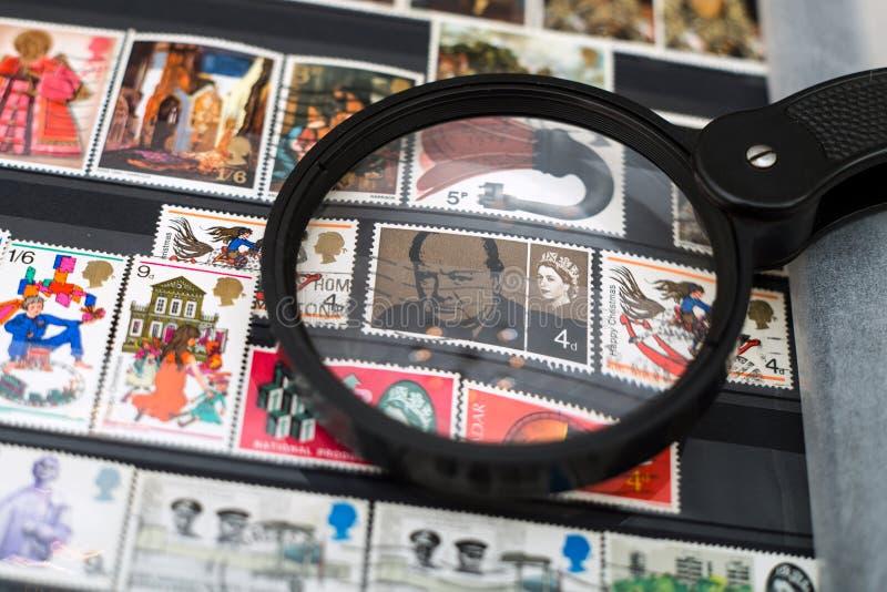 L'immagine di Winston Churchill su un francobollo annullato immagine stock libera da diritti