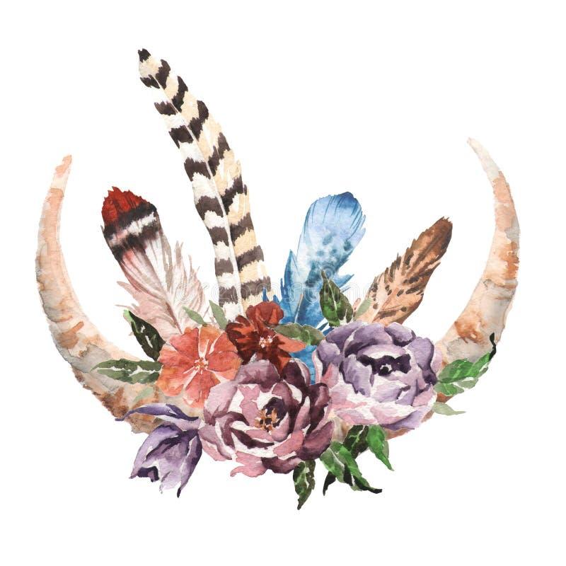 L'immagine elegante di boho dell'acquerello fiorisce, piume, elementi animali illustrazione vettoriale