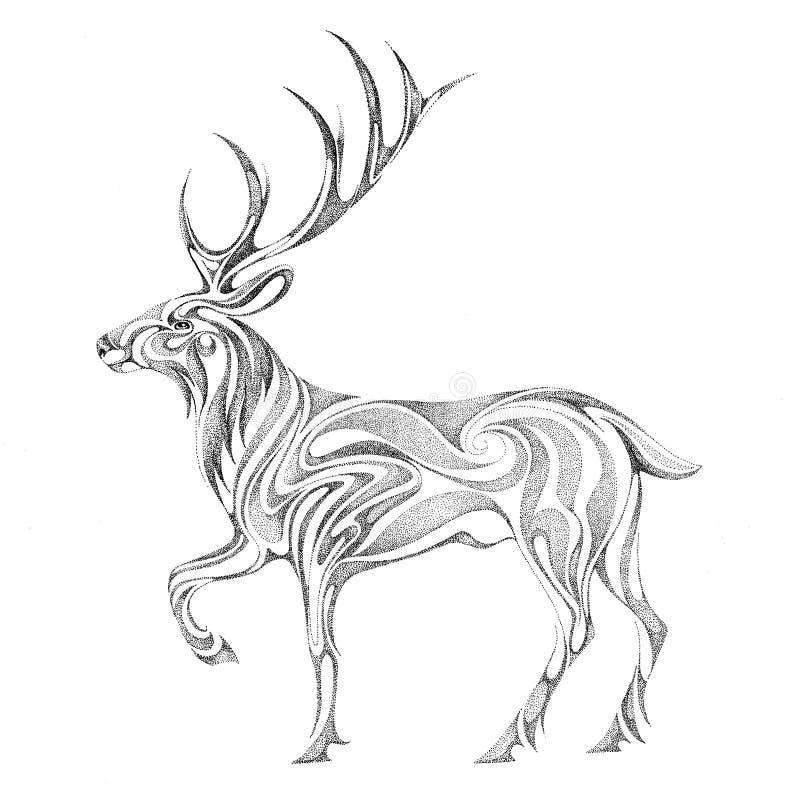 L'immagine stilizzata dei cervi della foresta illustrazione vettoriale