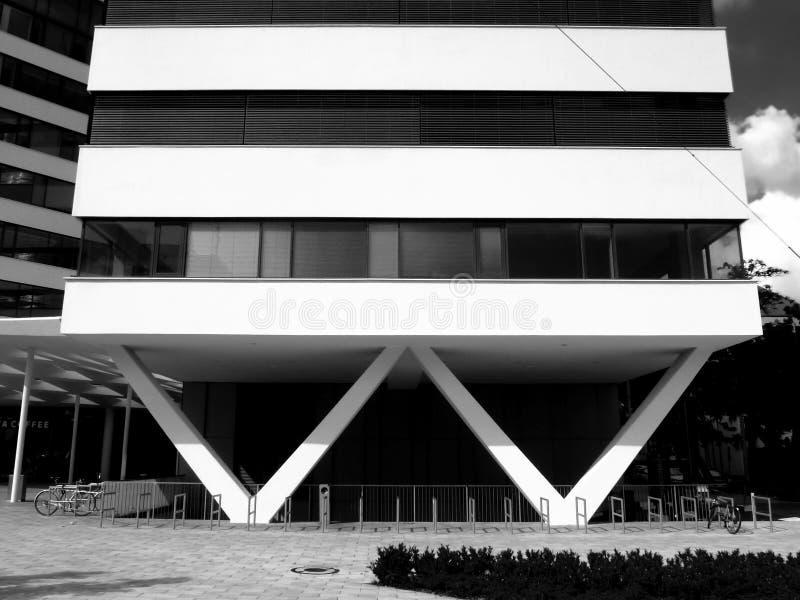 L'immeuble en béton et en verre blanc de bureaux avec W a formé des colonnes photo libre de droits