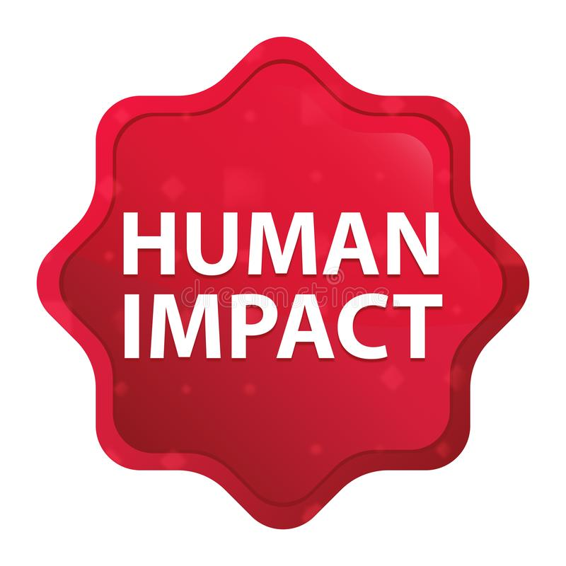 L'impact humain brumeux a monté bouton rouge d'autocollant de starburst illustration stock