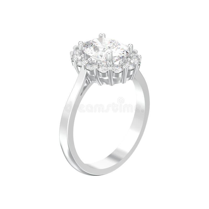 l'impegno ovale d'argento del diamante di alone isolato illustrazione 3D wed illustrazione di stock