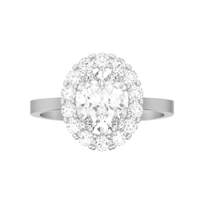 l'impegno ovale d'argento del diamante di alone isolato illustrazione 3D wed royalty illustrazione gratis