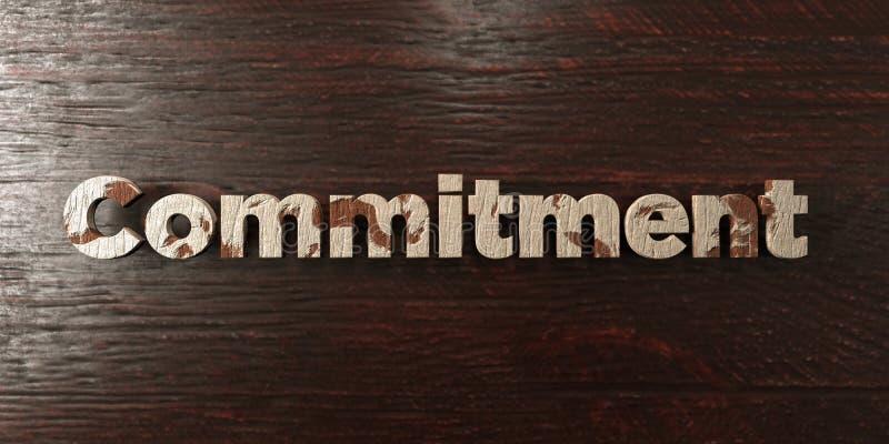 L'impegno - titolo di legno grungy sull'acero - 3D ha reso l'immagine di riserva libera della sovranità illustrazione di stock