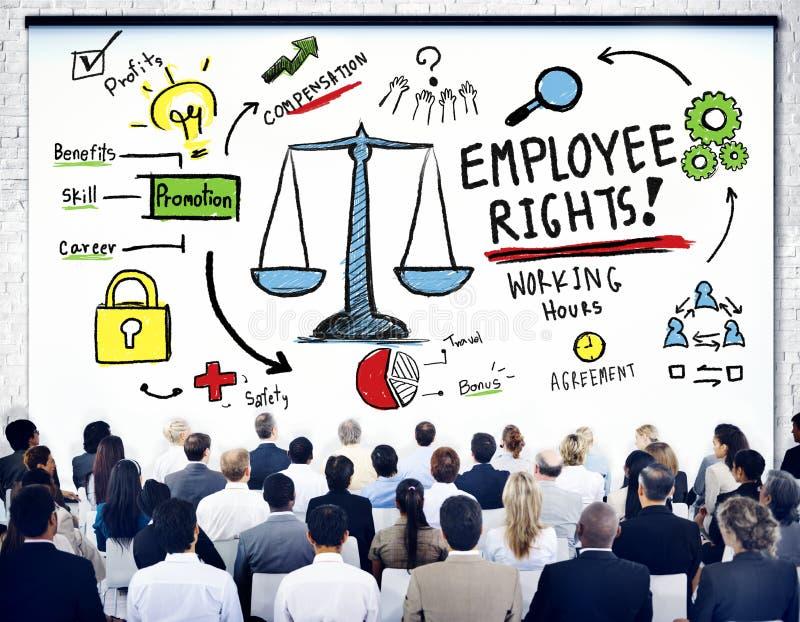 L'impiegato radrizza l'uguaglianza Job Business Seminar Concept di occupazione illustrazione vettoriale