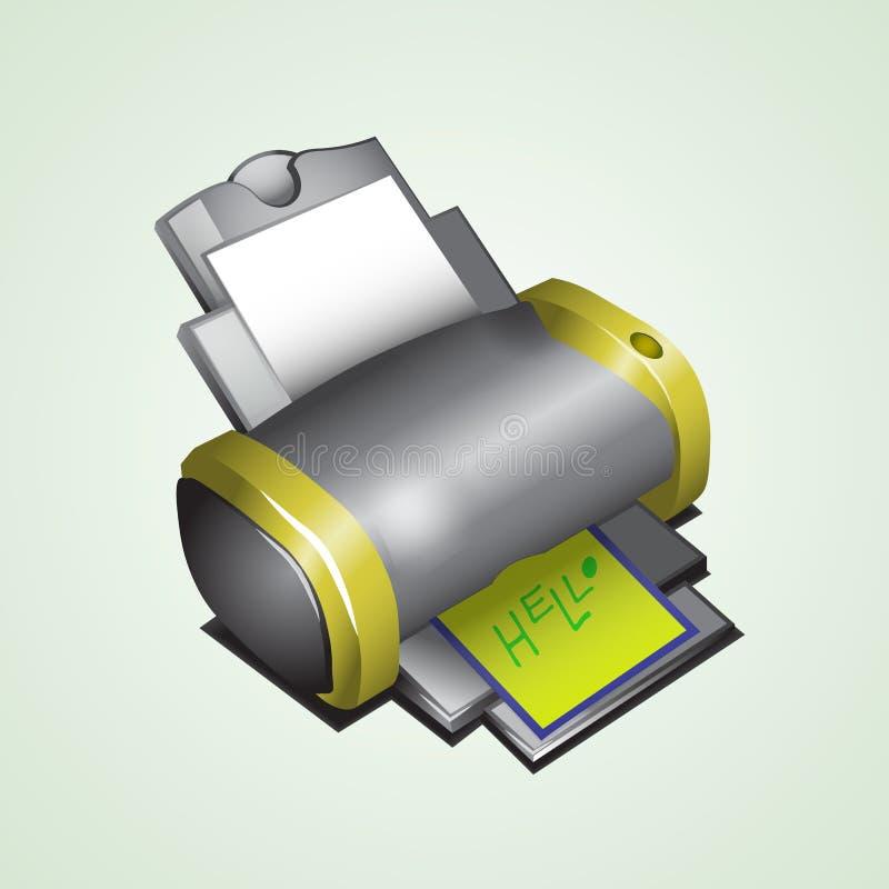 L'imprimante est décrite dans isometry photographie stock libre de droits