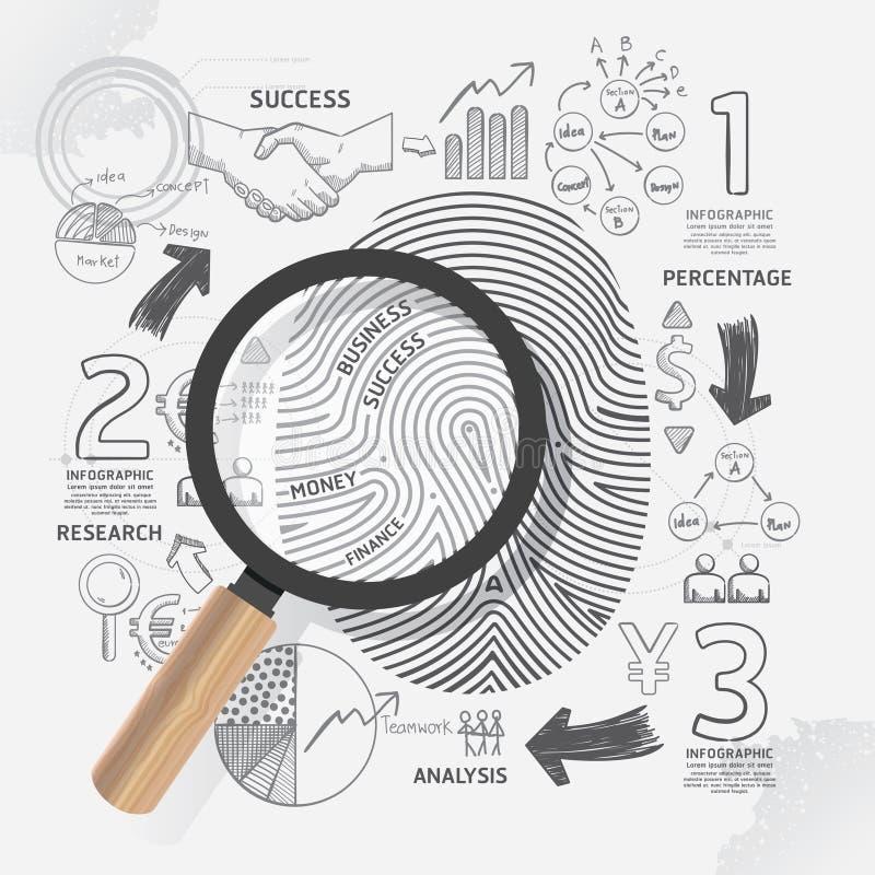 L'impronta digitale di affari scarabocchia piano di strategia di successo del disegno a tratteggio illustrazione vettoriale