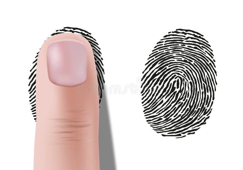 L'impronta digitale ed il simbolo di codice macchina hanno trovato su una scena del crimine per identificare un sospetto illustrazione di stock
