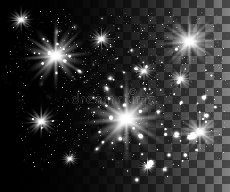 L'incandescenza ha isolato l'effetto trasparente bianco, il chiarore della lente, l'esplosione, lo scintillio, la linea, il flash royalty illustrazione gratis