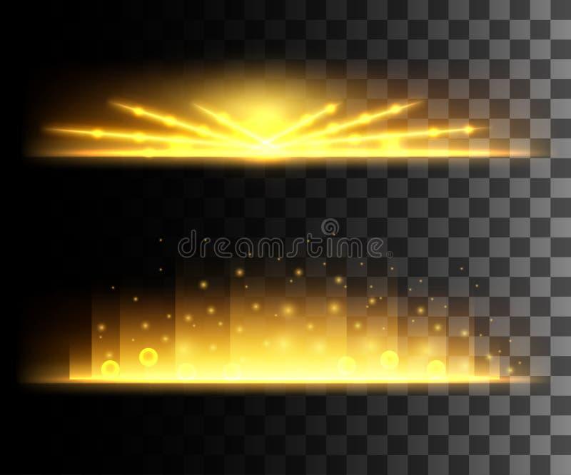 L'incandescenza ha isolato l'effetto trasparente bianco, il chiarore della lente, l'esplosione, lo scintillio, la linea, il flash illustrazione di stock