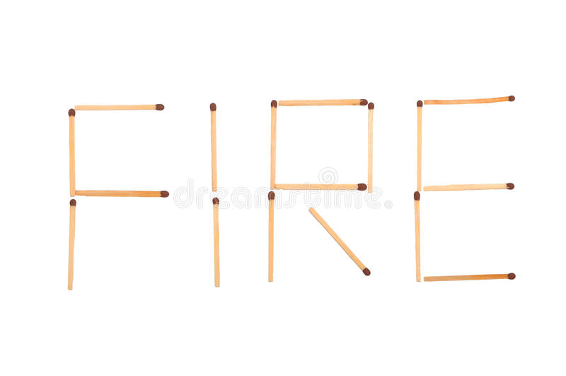 L'incendie de mot fait d'allumettes photos stock