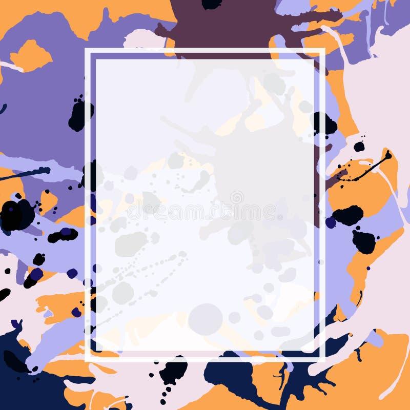 L'inchiostro marrone arancio lilla porpora spruzza il modello della struttura di ellisse illustrazione di stock