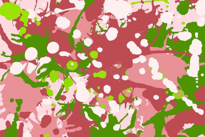 L'inchiostro rosa, verde, rosso, bianco spruzza il fondo del cammuffamento illustrazione vettoriale