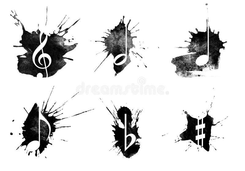L'inchiostro schizza, icone di musica messe su fondo bianco illustrazione vettoriale