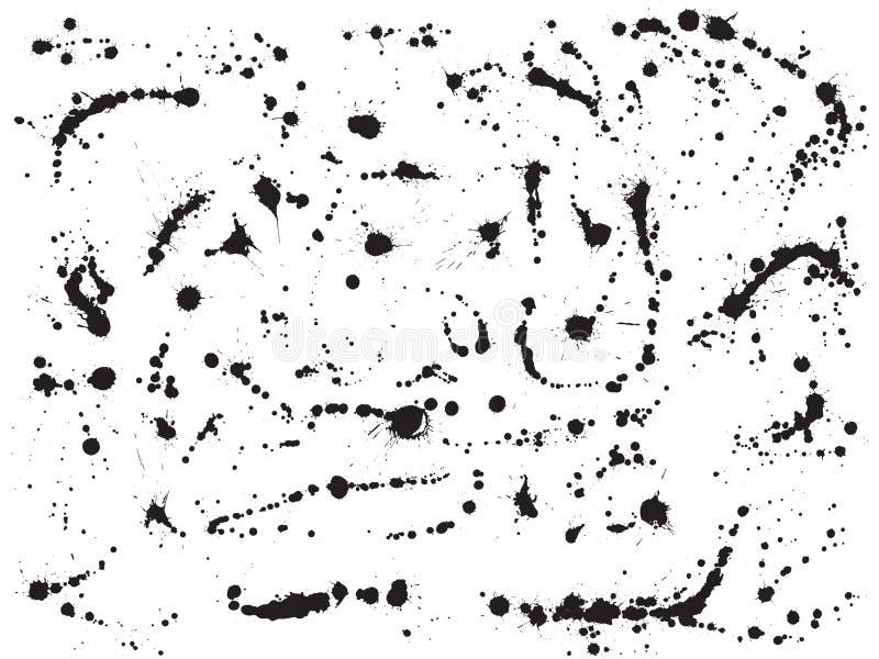 L'inchiostro schizza le gocce della pittura spruzza l'insieme di vettore illustrazione vettoriale