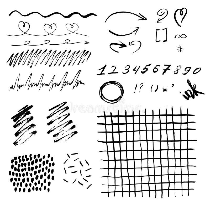 L'inchiostro spruzza, macchie, linee, frecce, cerchi su un fondo di bianchi Insieme dell'inchiostro di vettore royalty illustrazione gratis