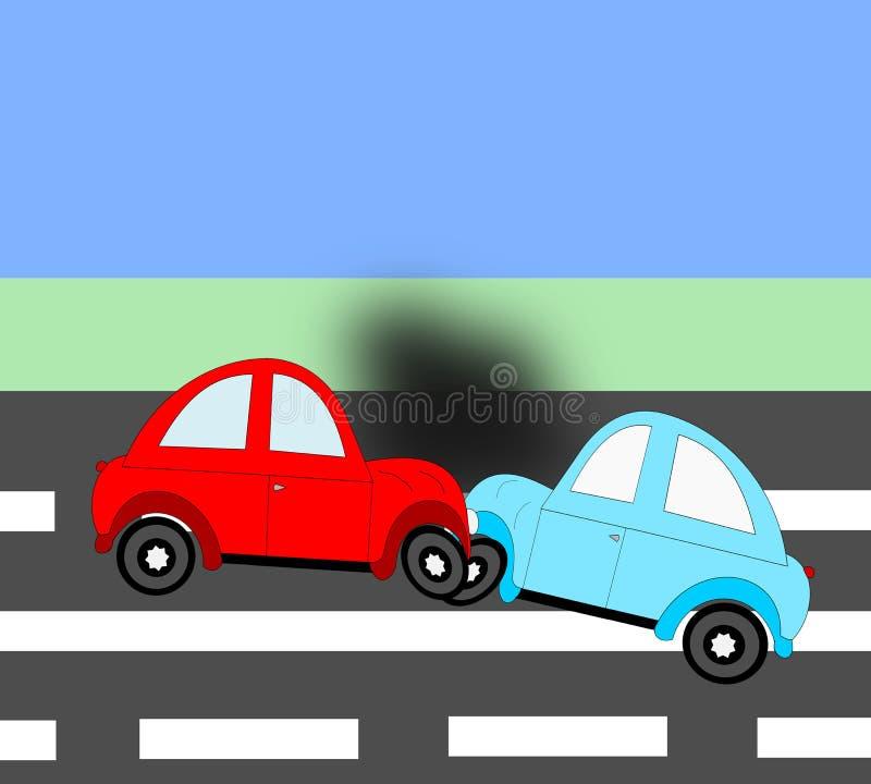 L'incidente, automobili di incidente stradale due sulla strada illustrazione vettoriale