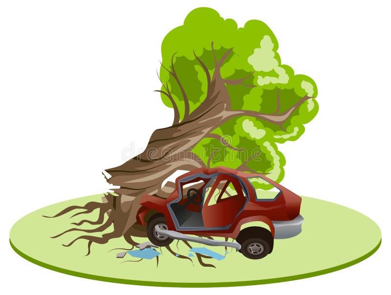 L'incidente stradale di incidente si è imbattuto nell'albero Assicurazione del veicolo royalty illustrazione gratis