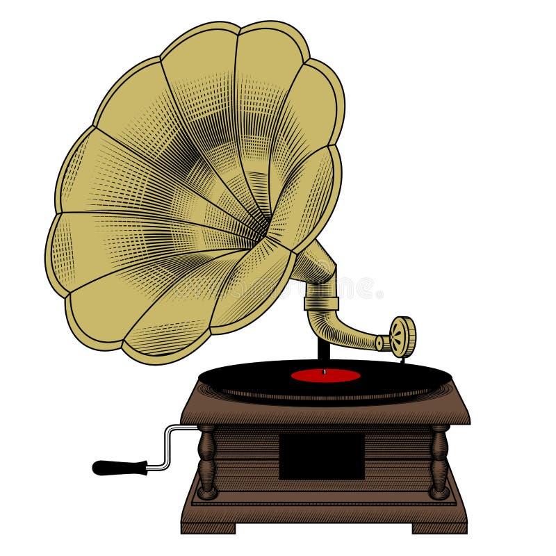 L'incisione d'annata di colore ha stilizzato il disegno di vecchio grammofono illustrazione di stock