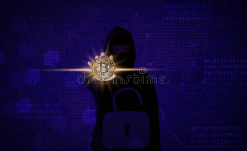 Pirata Informatico Cripto Con Il Computer Portatile E I ...