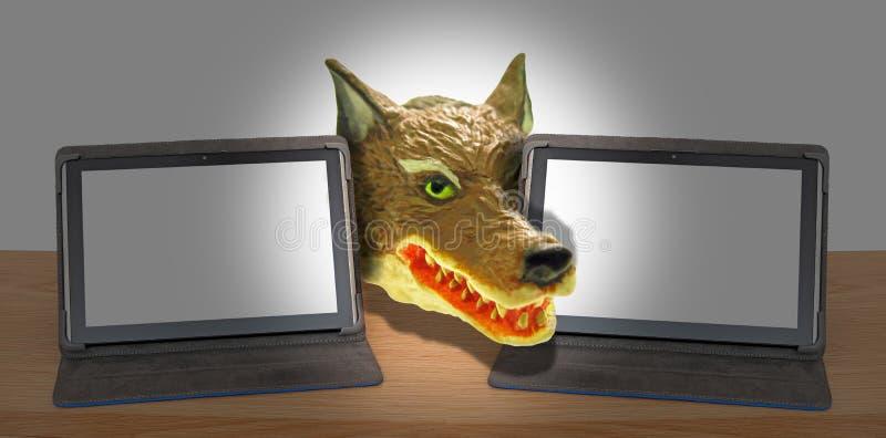 L'incisione online del computer del truffatore di Internet che incide il ransomware del Trojan di malware raggira il dirottamento royalty illustrazione gratis