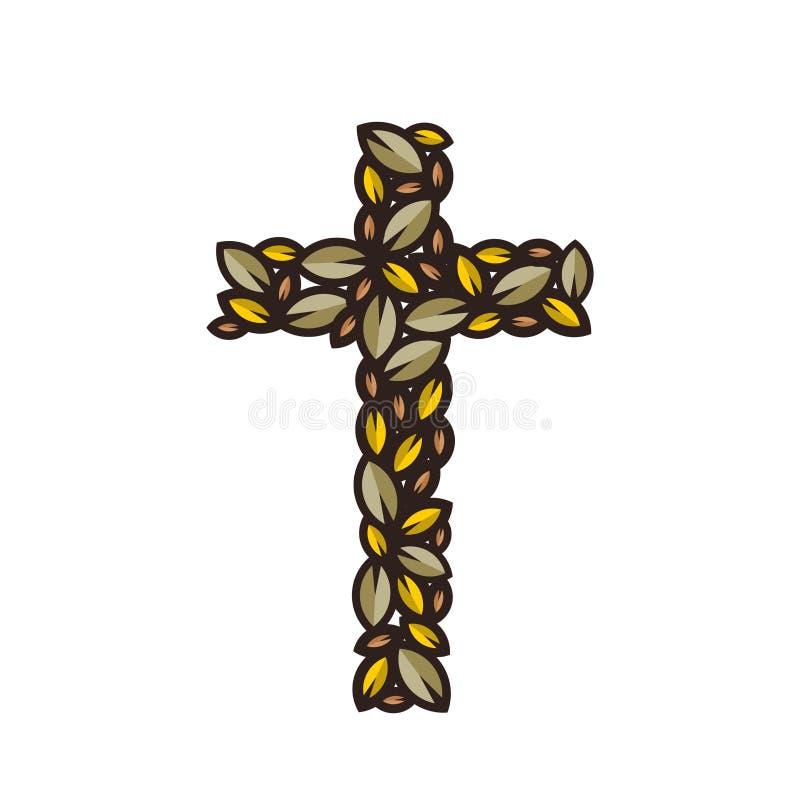 L'incrocio di Jesus Christ, composto delle foglie decorative illustrazione vettoriale