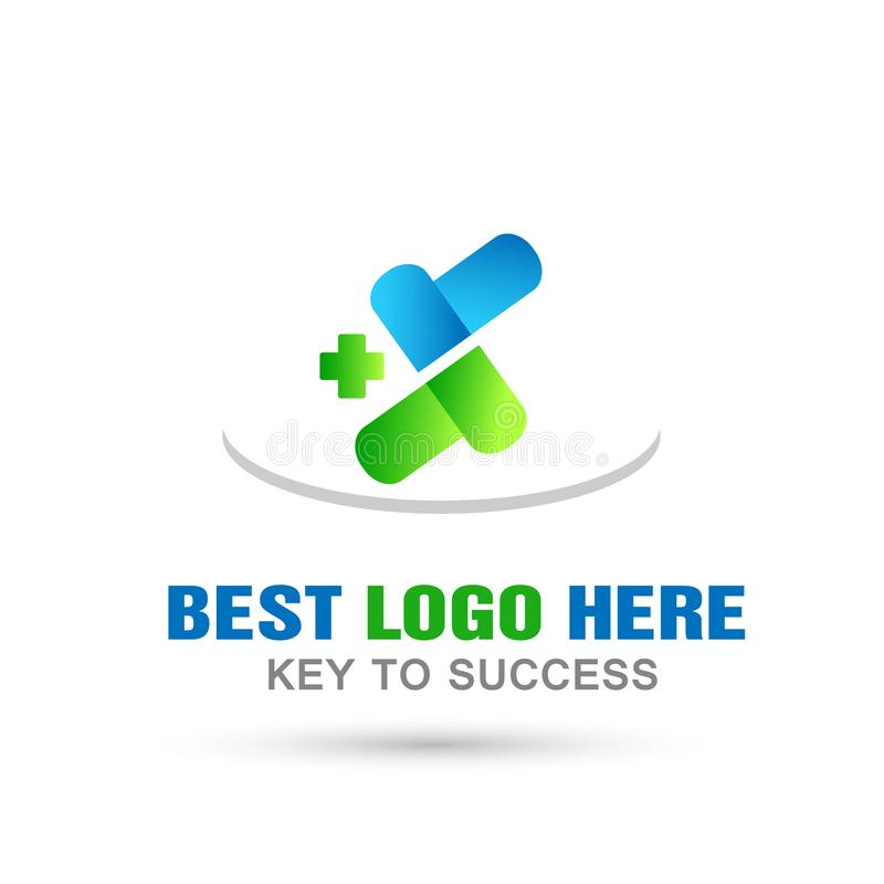 L'incrocio medico di sanità droga l'icona di logo della medicina su fondo bianco illustrazione di stock