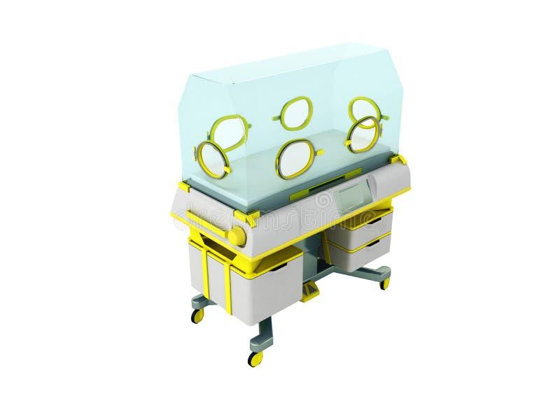 L'incubateur pour les bébés prématurés 3d jaune rendent sur le backgro blanc illustration de vecteur