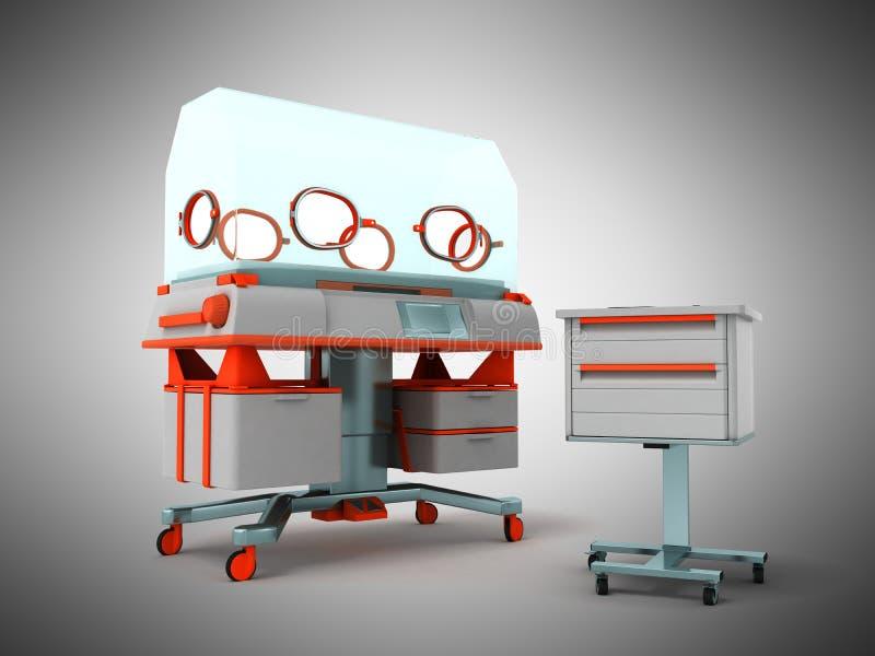 L'incubateur pour les enfants 3d rendent sur le fond gris illustration stock