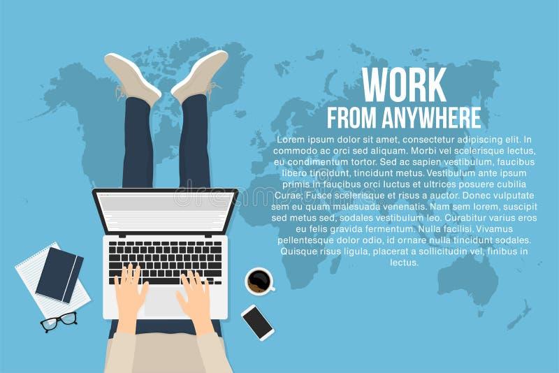 L'indépendant travaille à la maison avec l'ordinateur portable, vue supérieure Concept du fonctionnement à distance et du travail illustration libre de droits