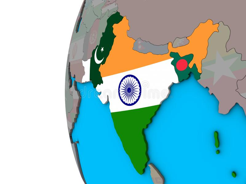 L'Inde britannique avec des drapeaux sur le globe 3D illustration de vecteur