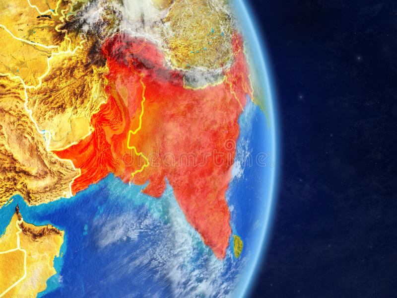 L'Inde britannique sur terre de planète illustration stock