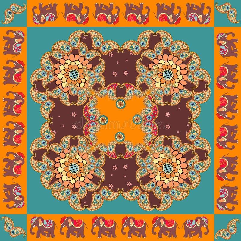 l'Inde Copie ethnique de bandana avec la frontière d'ornement Écharpe de cou en soie illustration de vecteur