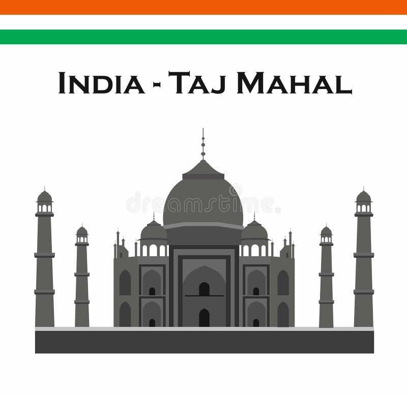 L'Inde Âgrâ, voyage, point de repère Architecture de culture du Taj Mahal Patrimoine mondial de l'UNESCO Mausolée - palais en ivo illustration libre de droits