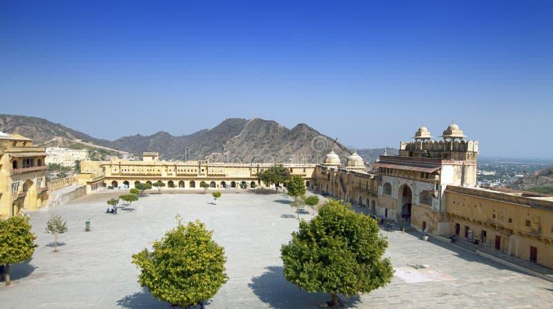 l'Inde jaipur Paysage ambre de ville de fort dans le jour ensoleill? photo libre de droits