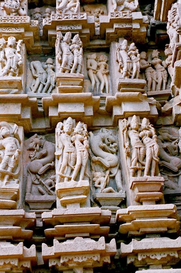 l'Inde, statues dans Khajuraho. photographie stock libre de droits