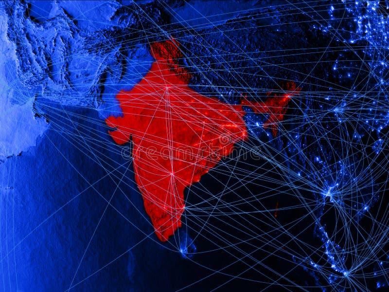 L'Inde sur la carte numérique bleue avec des réseaux Concept de voyage international, de communication et de technologie illustra illustration stock